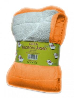 Beránek - deka micro, oranžová (100% polyester)