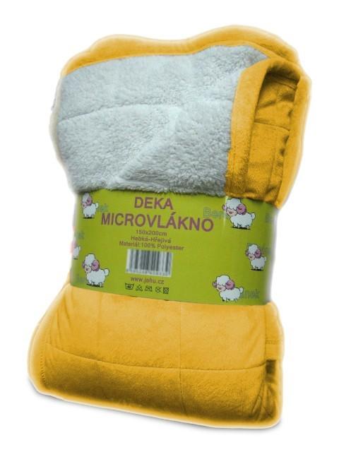 Beránek - deka micro, žlutá (100% polyester)