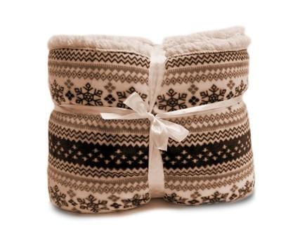Beránek - deka, vzor hnědá (100% polyester)