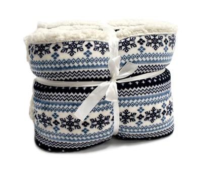 Beránek - deka, vzor modrá (100% polyester)