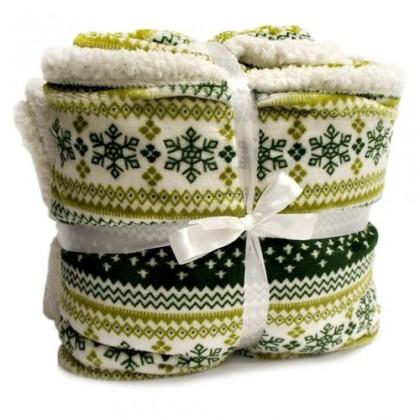 Beránek - deka, vzor zelená (100% polyester)
