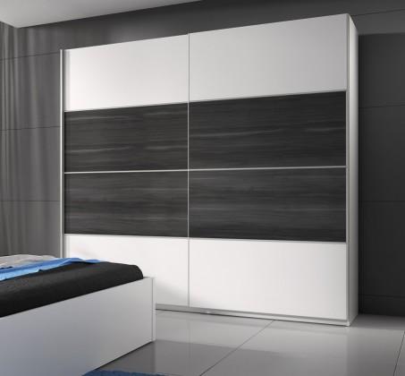 Beta - Skříň 221x210x61, posuvné dveře (bílá / dub šedý)