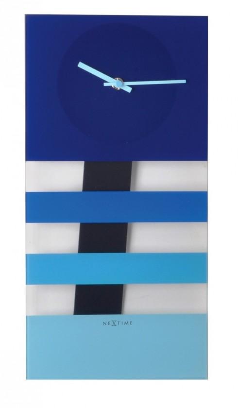 Bold Stripes - hodiny, nástěnné kyvadlové (sklo, modré)
