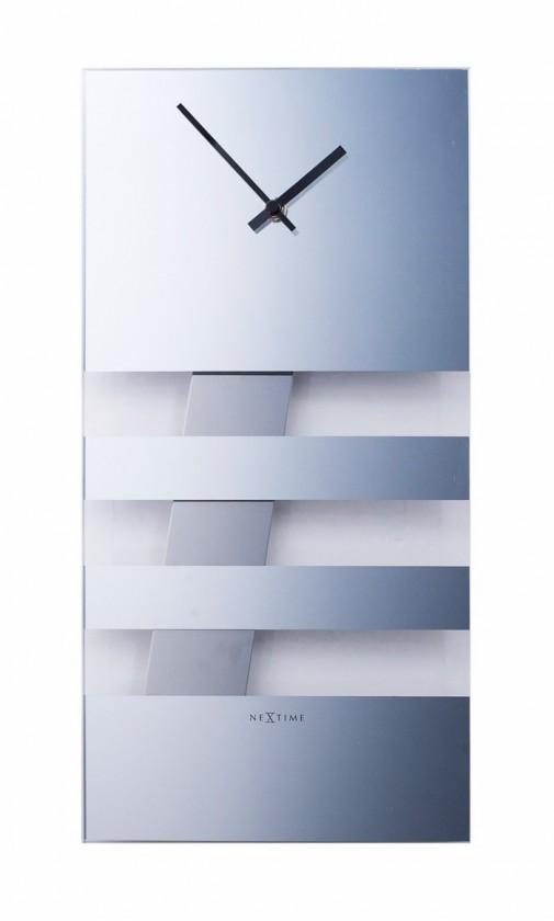Bold Stripes - hodiny, nástěnné kyvadlové (sklo, stříbrné)