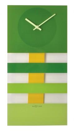 Bold Stripes - hodiny, nástěnné kyvadlové (sklo, zelené)
