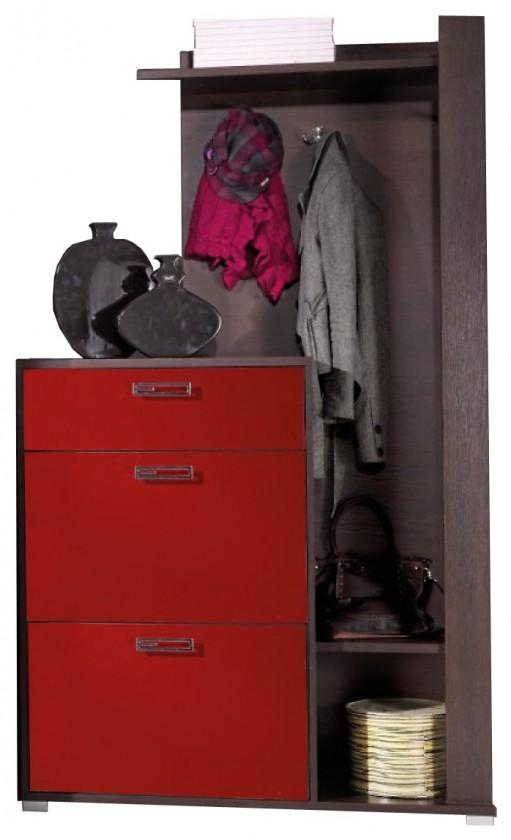 Botník Foxy - skříň na boty, věšák (miláno/červený lesk)