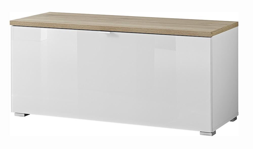 Botník GW-Alameda - Botník,1x výklopné dveře (bílá/dub sanremo)