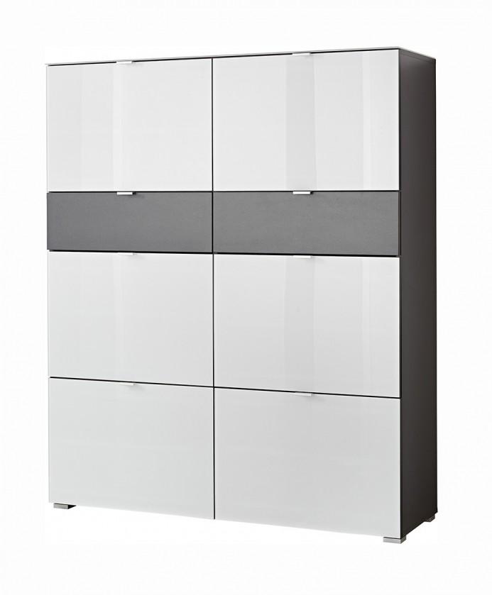 Botník GW-Alameda - Botník,6x dveře,2x šuplík (antracit/bílá)