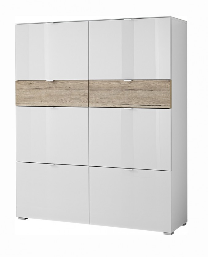 Botník GW-Alameda - Botník,6x dveře,2x šuplík (bílá/dub sanremo)