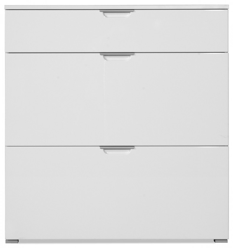 Botník GW-Gala - Botník, 1x zásuvka, 2x výklopné dveře (bílá)