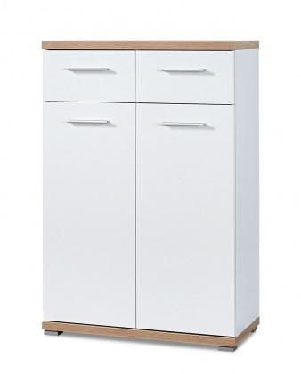 Botník GW-Top - Botník, 2x dveře (bílá/dub sonoma)