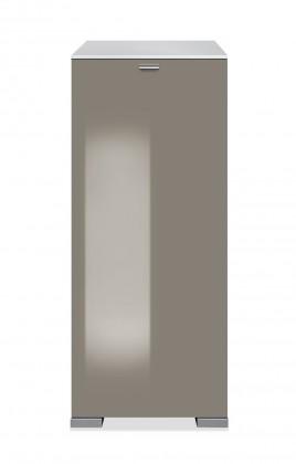 Botník Rhein - Botník, 1x dveře (šedý kámen vysoký lesk, bílá)