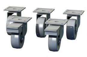Box - nábytková kolečka, 5 kusů (šedá, 7 cm)