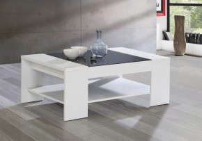 Brady - Konferenční stolek (bílá/černé sklo)