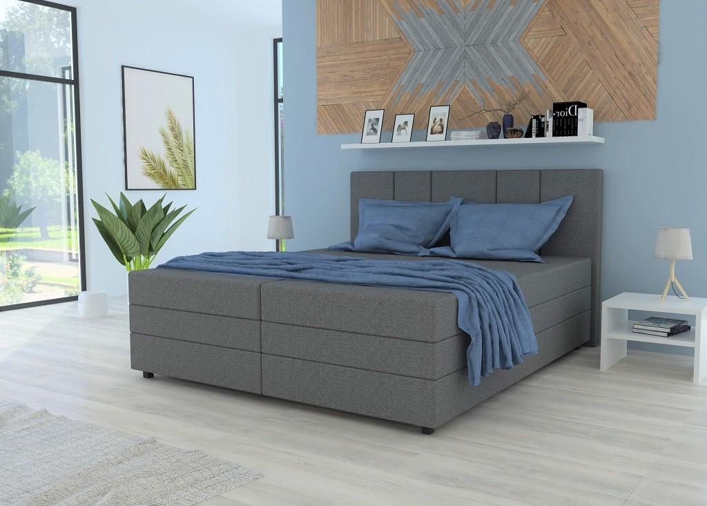 Čalouněná Čalouněná postel Alexa 180x200, vč. matrace a úp, šedá