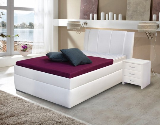 Čalouněná Čalouněná postel Bassit 2, 200 cm, bílá, s úložným prostorem