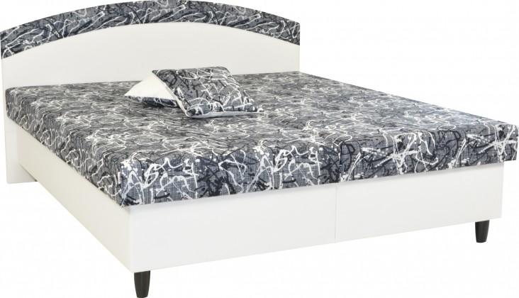 Čalouněná Čalouněná postel Corveta 160x200, bílá/šedá, vč. matrace a úp