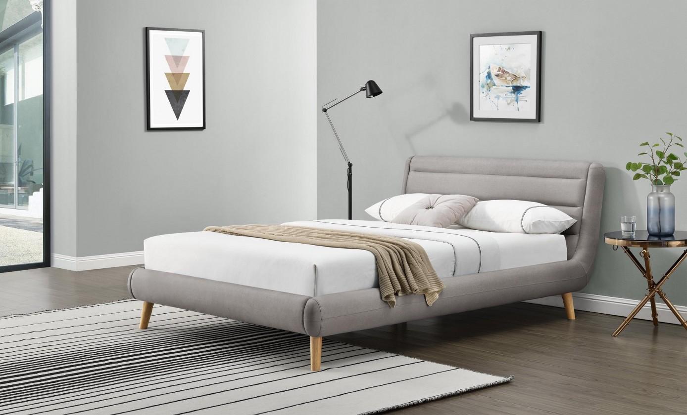 Čalouněná Čalouněná postel Elanda 160x200, světle šedá, bez matrace a úp