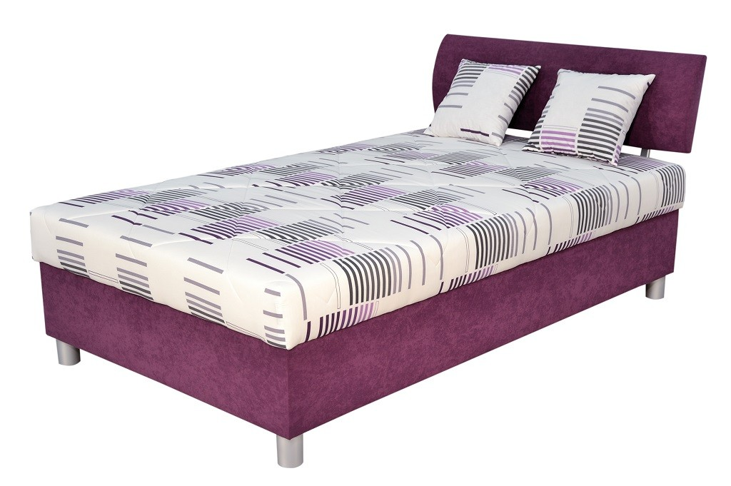 Čalouněná Čalouněná postel George 120x200, fialová, vč. matrace a úp