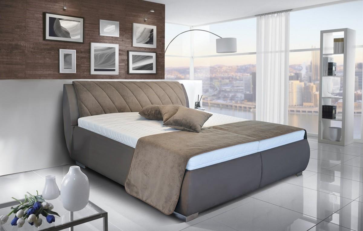 Čalouněná Čalouněná postel Grosseto 180x200 cm, hnědá, s úložným prostorem