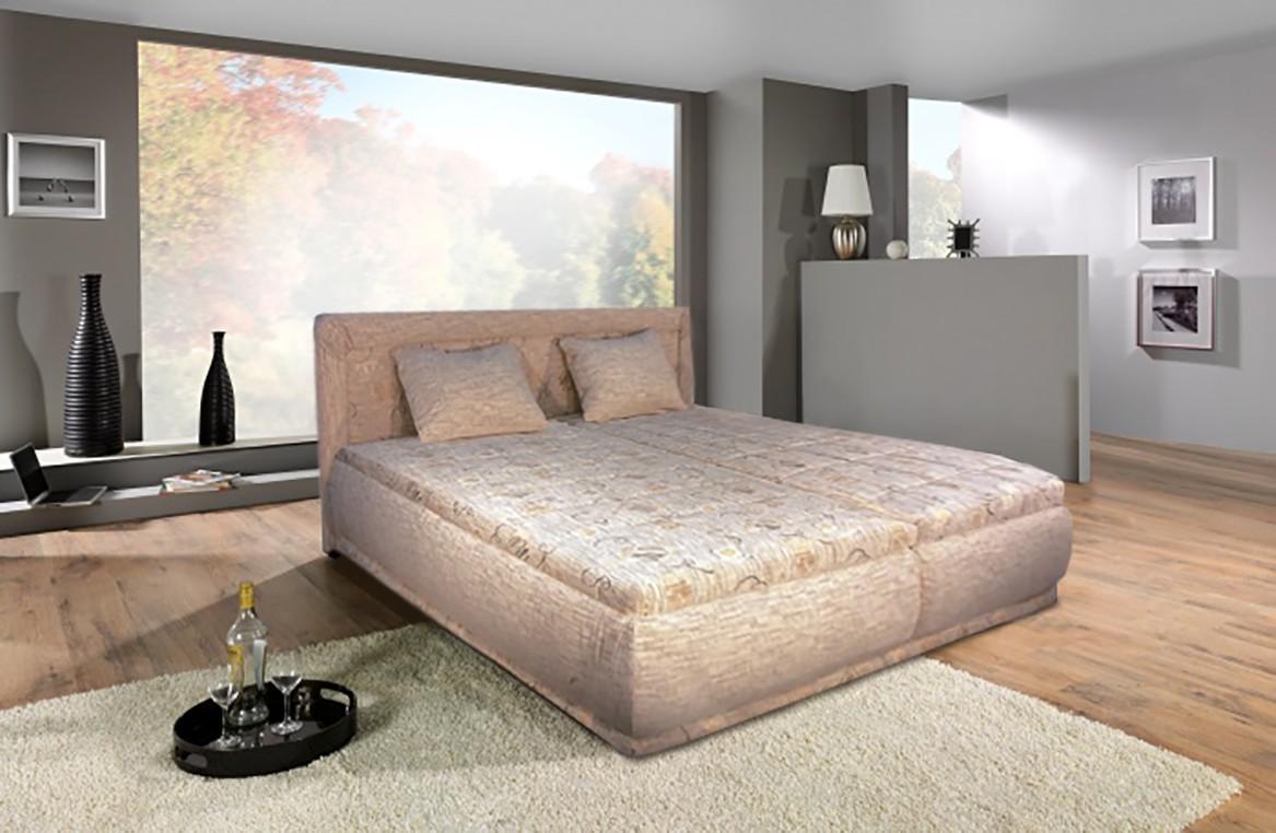 Čalouněná Čalouněná postel Harmonie 160x200 cm, béžová,s úložným prostorem