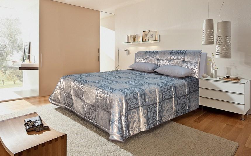 Čalouněná Čalouněná postel King 160x200 cm, šedá, s úložným prostorem