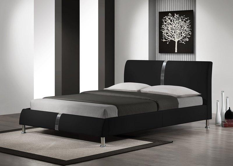 Čalouněná Čalouněná postel Nigel - 160x200, rám postele, rošt (černá)