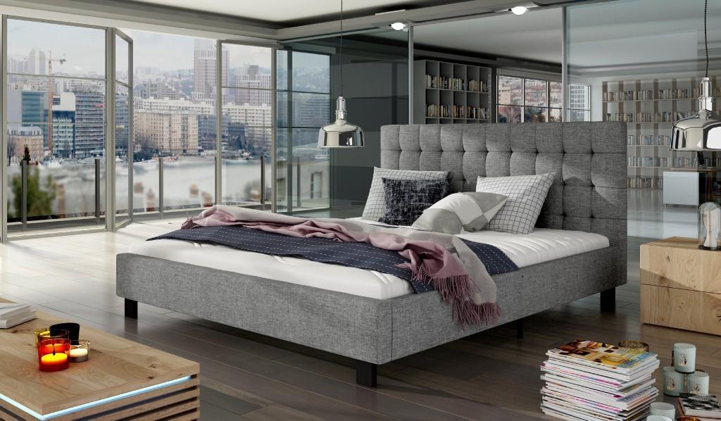 Čalouněná Čalouněná postel Paxton 160x200 šedá vč. roštu, bez matrace a ÚP