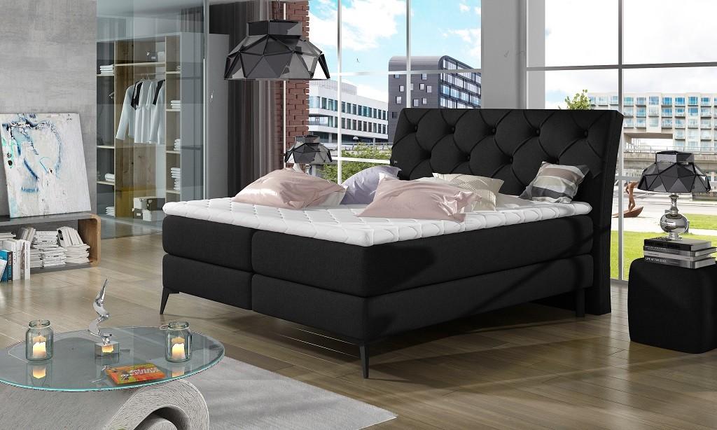 Čalouněná Čalouněná postel Violet 180x200, černá, vč. matrace a ÚP