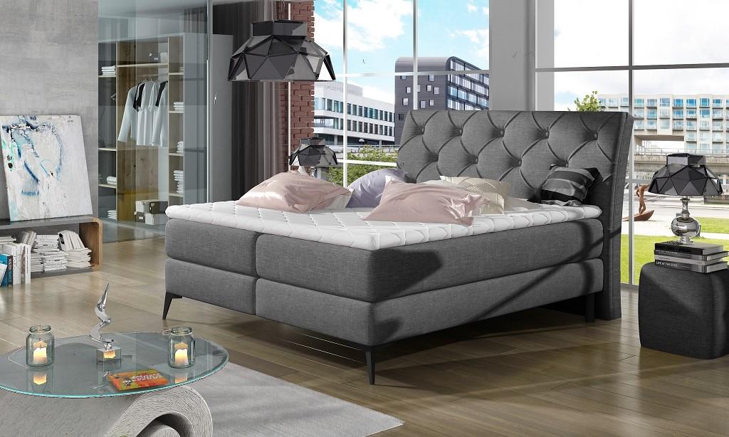 Čalouněná Čalouněná postel Violet 180x200, šedá, vč. matrace a ÚP