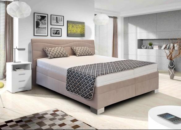 Čalouněná Čalouněná postel Windsor 180x200 cm, béžová, s úložným prostorem