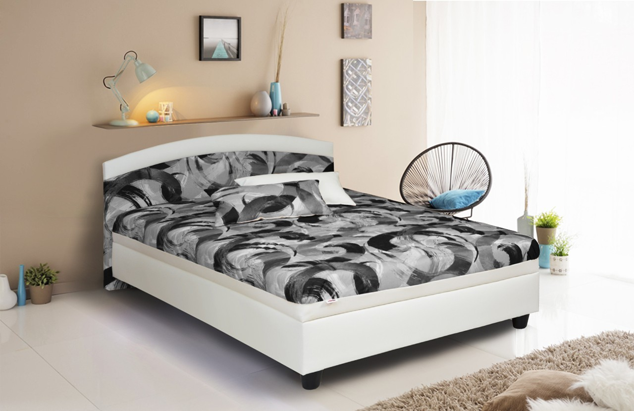 Čalouněná Čalouněná postel Zonda 120x200 cm,šedá,bílá, s úložným prostorem