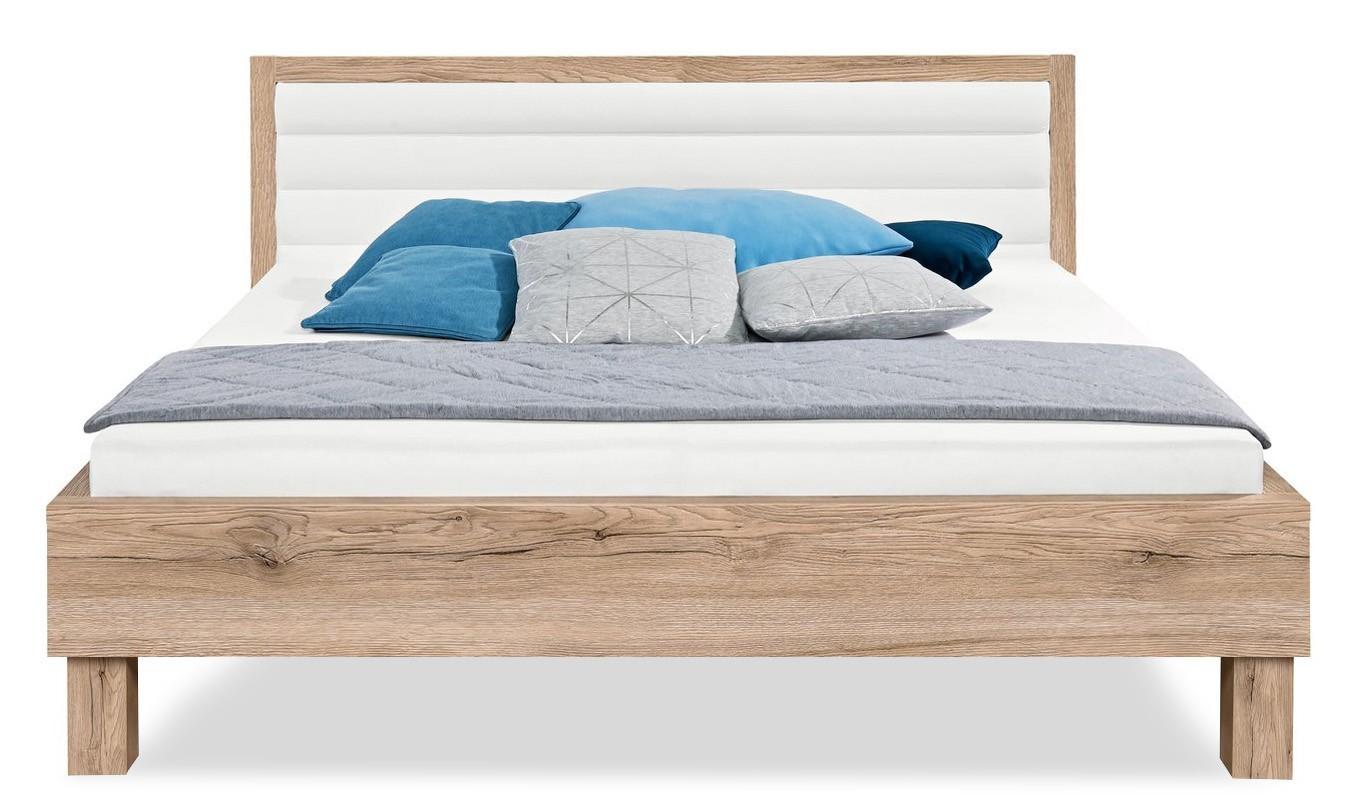 Čalouněná Cosmo - 200x140, dřevěné nohy (dub pískový, čalouněné čelo bílé)