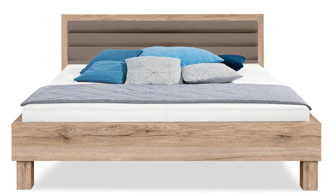 Čalouněná Cosmo - 200x180, dřevěné nohy (dub pískový, čalouněné čelo šedé)