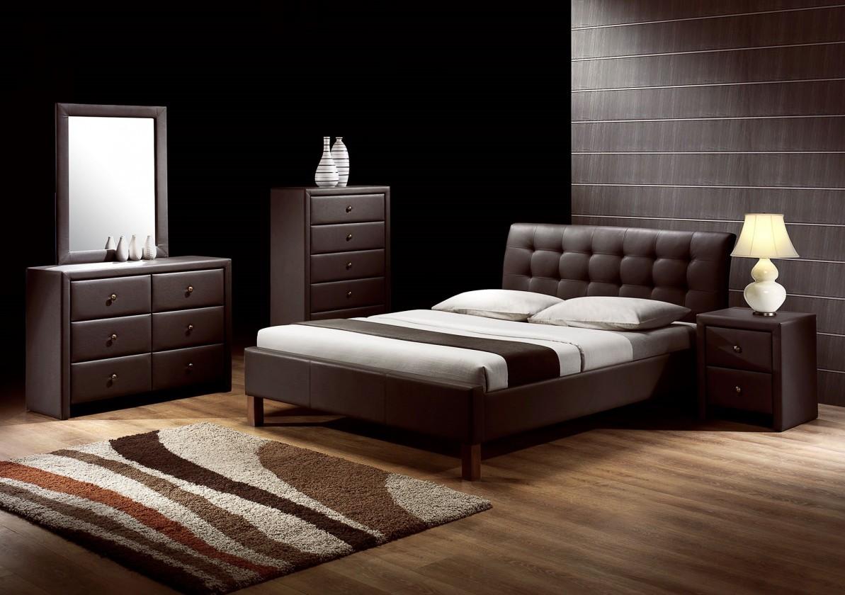 Čalouněná Kirsty - Postel 200x160, rám postele, rošt (tmavě hnědá)