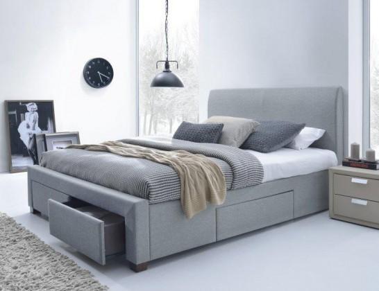 Čalouněná Marion - Postel 200x160, rám postele, rošt, 4 šuplíky (šedá)