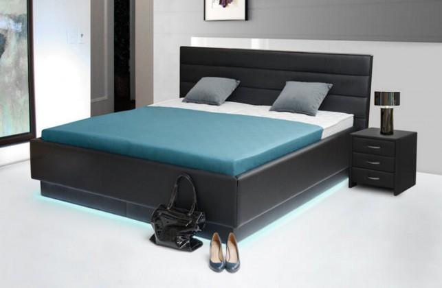 Čalouněná Patria 6 - postel 200x180, úložný prostor, výklopný polohovatelný rošt, LED podsvícení