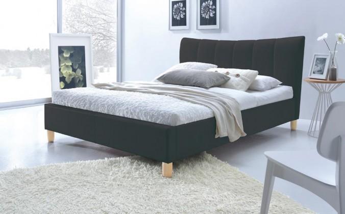Čalouněná Phily - Postel 200x160, rám postele, rošt (černá/nožky buk)
