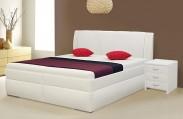Čalouněná postel Bassit 2, 200 cm, bílá, s úložným prostorem