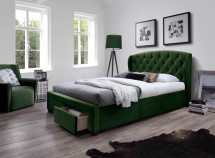 Čalouněná postel Etienne 160x200, zelená, včetně roštu a ÚP