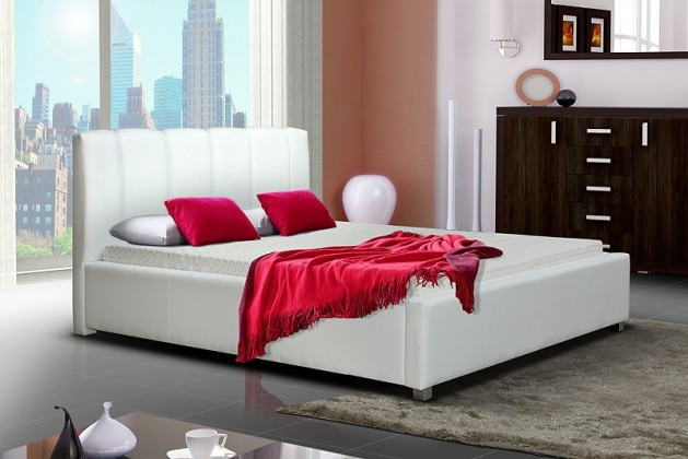 Čalouněná Postel I - bílá, matracový rám