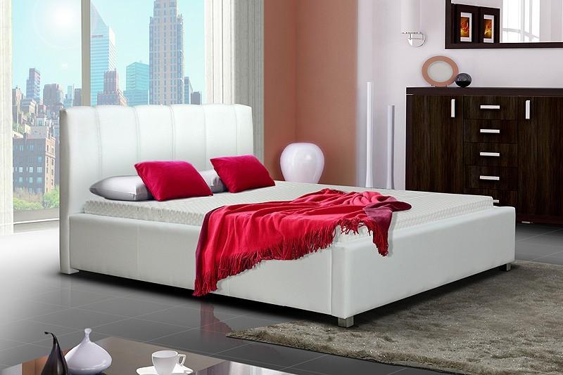 Čalouněná Postel I - bílá, matracový rám, úložný prostor
