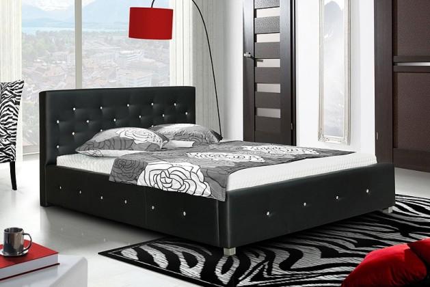 Čalouněná Postel IV - černá, matracový rám, úložný prostor, Swarovski