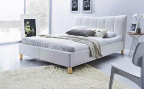 Čalouněná postel Phily - 160x200, rám, rošt (bílá/nožky buk)