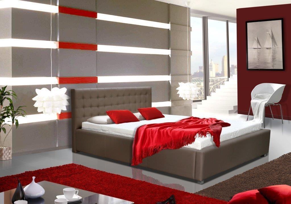 Čalouněná Postel V - 180x200 cm, matracový rám (soft)