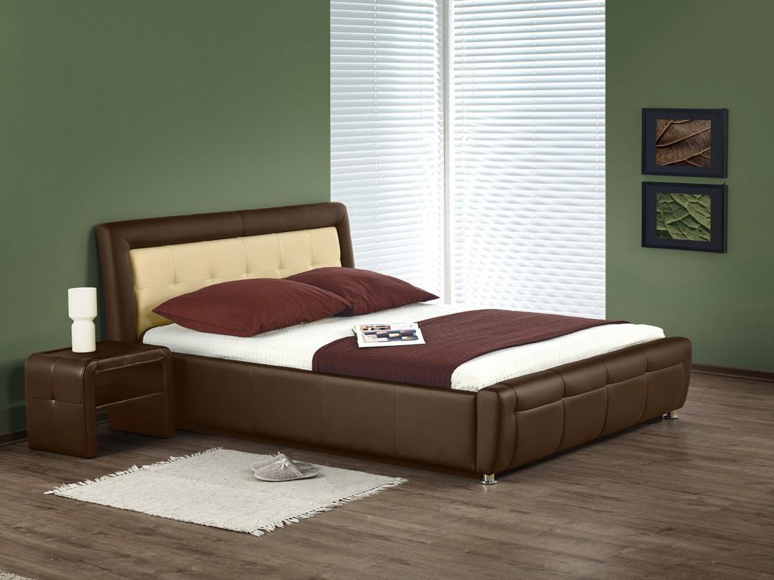 Čalouněná Soho - Postel 200x160, rám postele, rošt (hnědo-béžová)