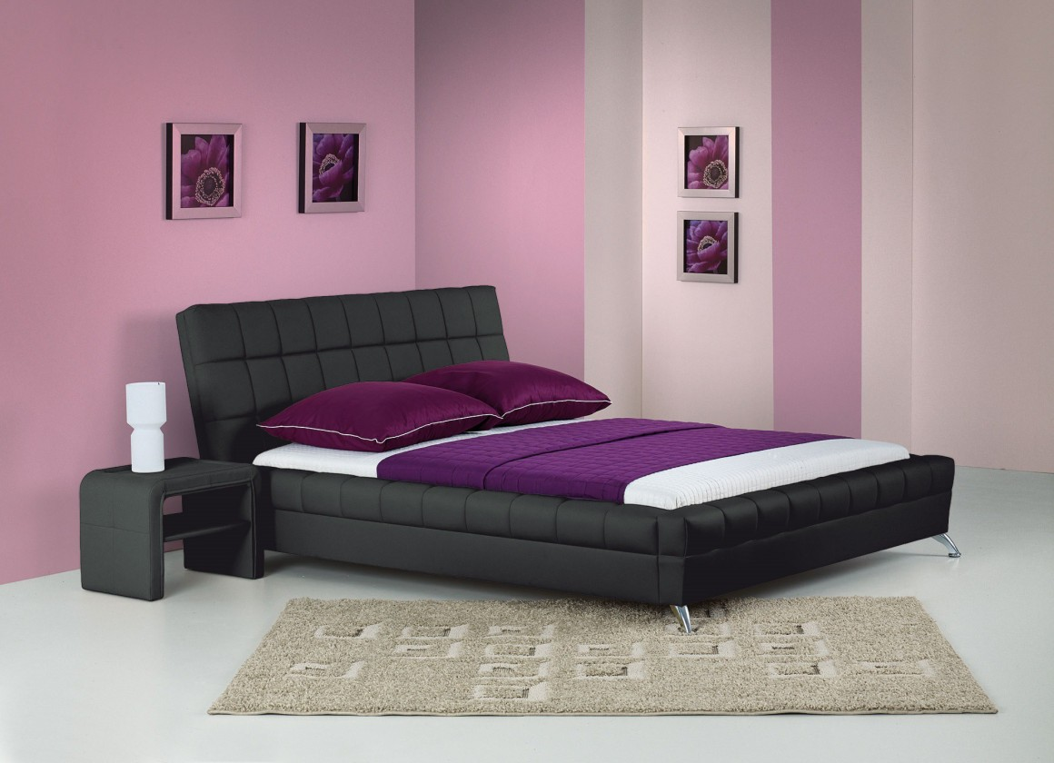 Čalouněná Venice - Postel 200x160, rám postele, rošt (černá)