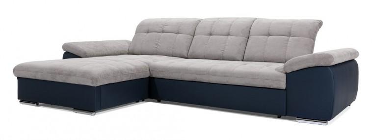 Čalouněné Rohová sedačka rozkládací Ateca levý roh ÚP šedá, modrá
