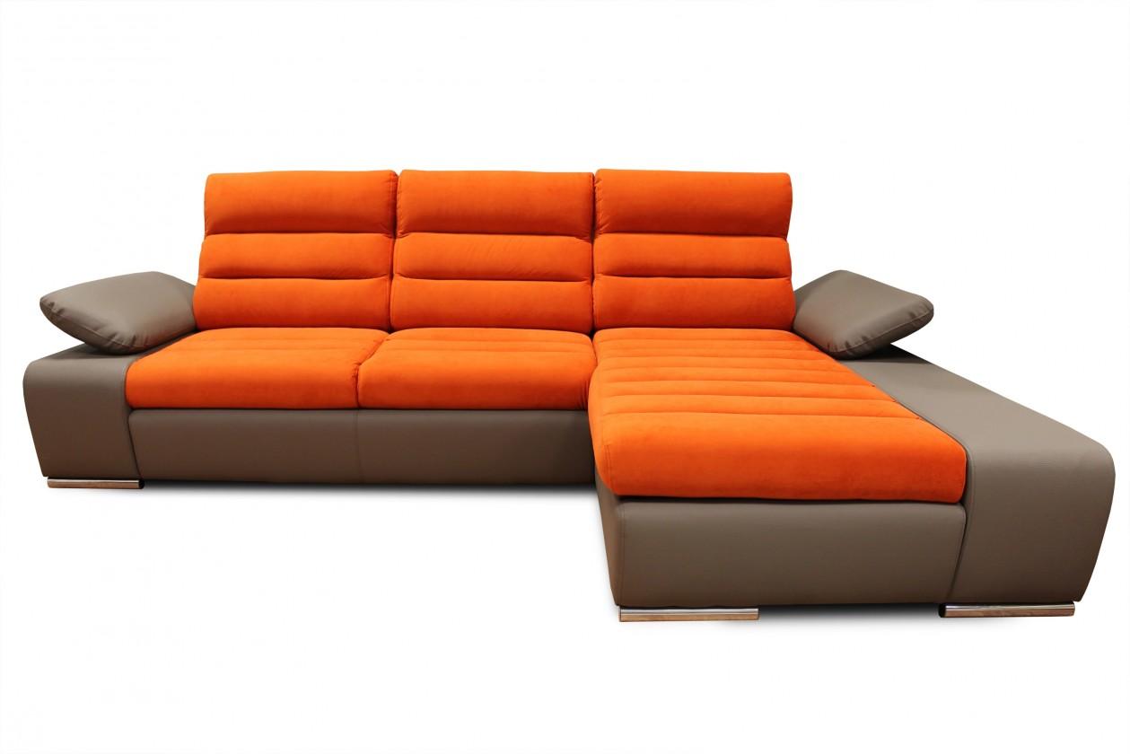 Čalouněné Rohová sedačka rozkládací Korfu pravý roh ÚP hnědá, oranžová