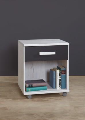 Cariba - Mobilní stolek (bílá dub, černá láva)